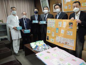 山王不動産グループのれん会様よりマスク,大津市社会福祉協議会様より防護具と絵手紙の寄せ書き